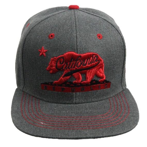 Unisex Mesh Snapback Caps California Bear Clip Art Flat Hip Hop Baseball Hat