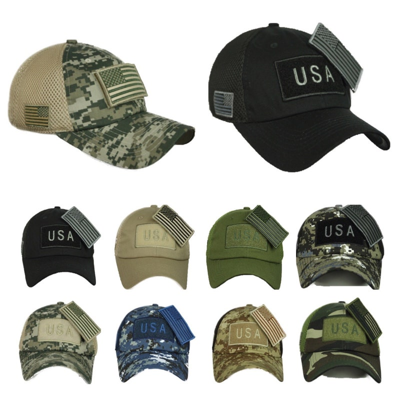 2bf5b257c USA American Cpas US Flag Baseball Cap Army Hats Tactical Mesh Military  Camo Fashion Casual Trucker Hat Detachable Flag Patch