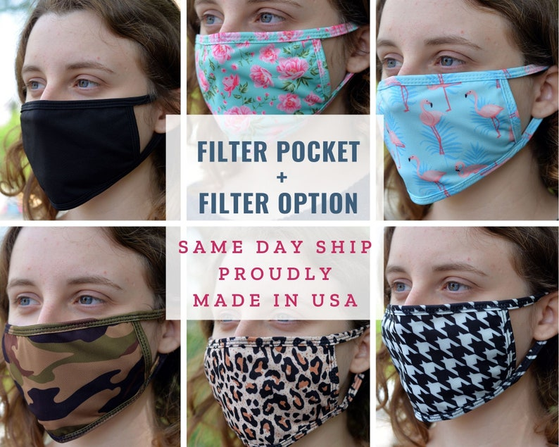 Fabric Face Mask with Filter Pocket Washable face mask made in USA, Washable, Reusable, Breathable, Golden Rock photo
