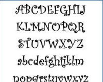 Alphabet Pattern - Curlz, 2 inch - Printable PDF File, Digital Download