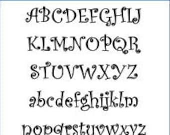 Alphabet Pattern - Curlz, 6 inch - Printable PDF File, Digital Download
