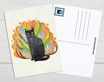Black Cat Club, Cat Postcard, Cat Art Print, Cat Lover Gift, Cat Illustration