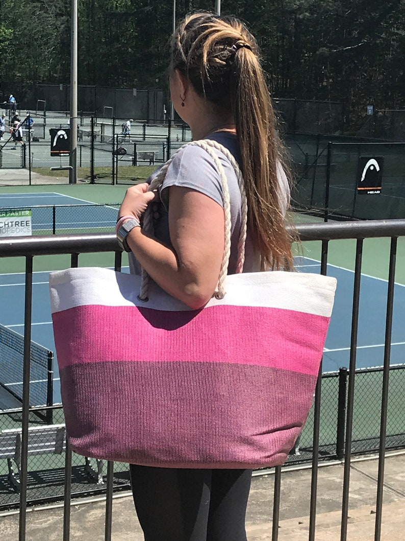 Great for beach or boat! lined Pink Ombre/' Woven Beach Tote  Pool bag