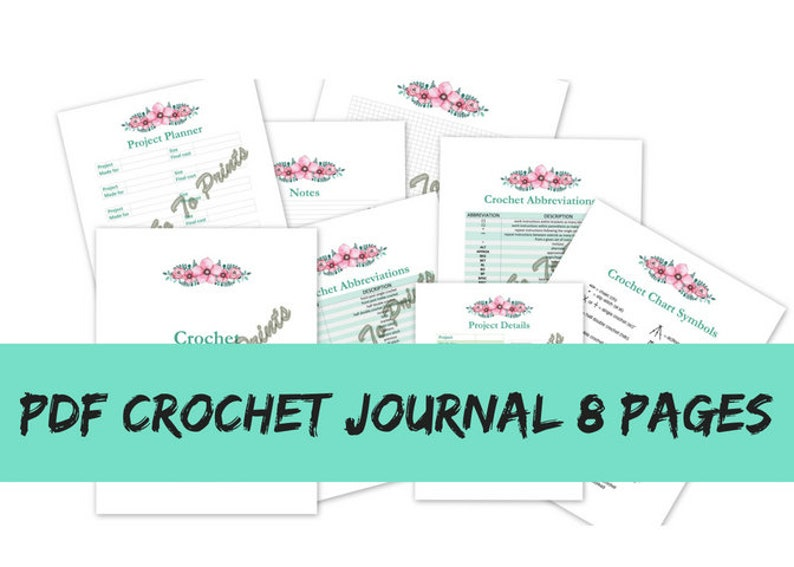 PDF Crochet Journal Organizer Project Planner Process Tracker Crafts