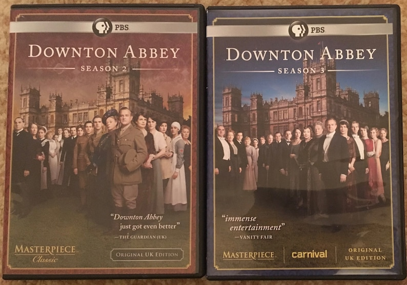 Downton Abbey, Seasons 2 & 3 DVD Disc Sets, PBS Masterpiece Classic  Original UK Edition  Like New Condition  Period Historical Drama