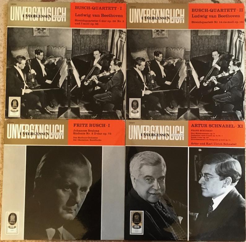 4 Odeon/EMI Vinyl LP Lot: The Busch-Quartett Beethoven String Quartets I &  II