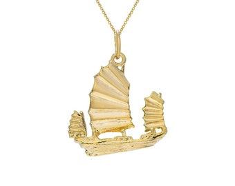 Junk Boat in 14k Gold