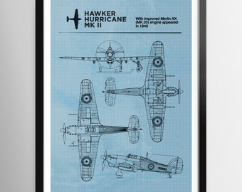 Spitfire blueprint | Etsy