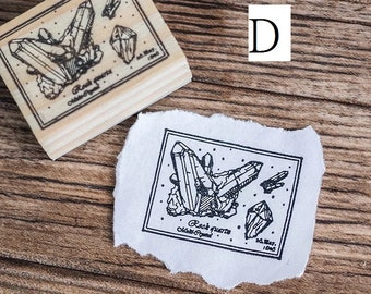 Vintage Stone Crystal Wooden Rubber Stamp for Scrapbooking , art, journal, mail art, travel journal