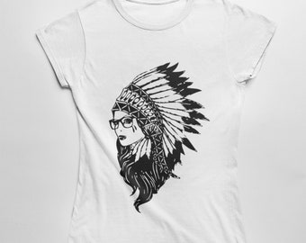 e3453178 Indian Girl Headdress Tee Mens Woman's Sizes Indian Outlaw Shirt Native  American T Shirt Feather Headdress TShirt Western Country Cowgirl