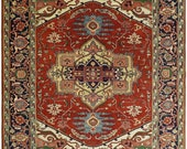 Hand Knotted 9x12 Rust and Blue Traditional Heriz Serapi Rug TRDCP85912