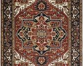 Handmade 9x12 Rust and Black Traditional Heriz Serapi Rug TRDCP84912