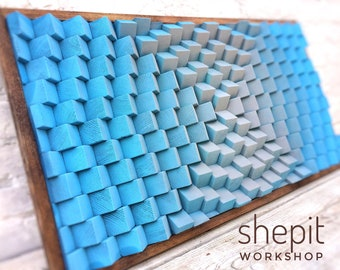 Wood Wall Art , Large , Powdery Blue Gray , Modern Abstract Artwork , 3D , Sound Diffuser Acoustic Panel