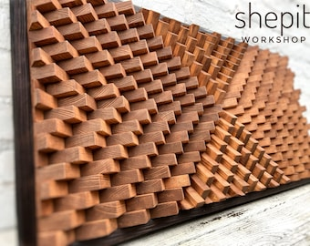 Wood Wall Art - Acoustic Panel - Geometric Wall Art - Natural Wood - Modern Abstract Wood Art - Large - Mosaic - Sound Diffuser