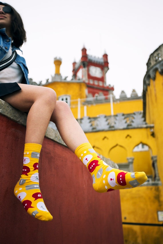 messenger socks Introvert socks airplane mode socks patterned socks colorful mismatched mens womens gift socks Socks Set of 3 pairs