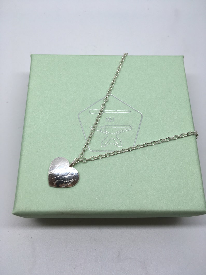 Handmade Sterling Silver heart anklet great for any summer outfit with textured detail and polished finish