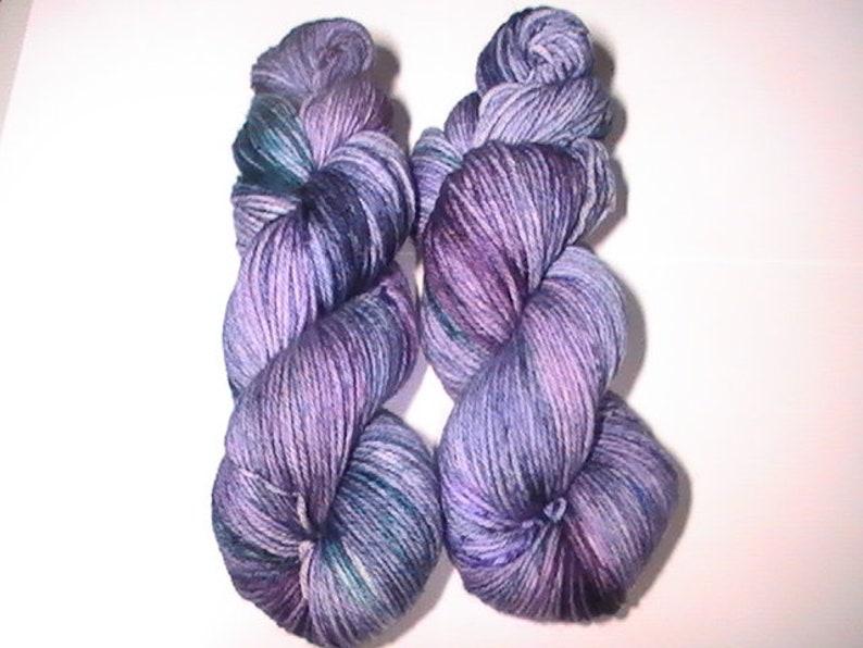 DK Hydrangeas by moonlight colourway superwash extrafine merino
