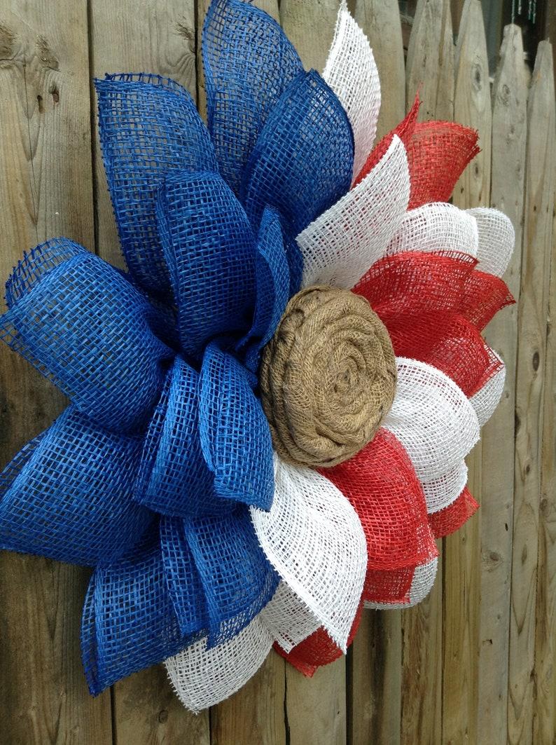 Burlap Sunflower Wreath Patriotic Wreath Patriotic Door Wreath Burlap Flower Wreath Memorial Day Wreath Front Door Wreath