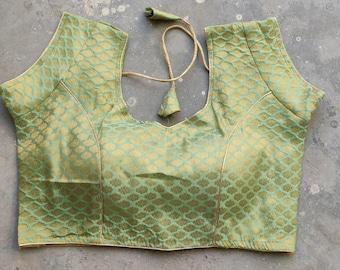 Girlish Readymade Valentine/'s Special Ikat Printed Green New Women/'s Pure Cotton Saree Blouse Sari Indian Choli Shirt sleeveless Round Neck