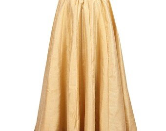 a8fd470bf6e Golden Women's Poly Raw Silk Solid Fabric Long Full Flair Skirt Party Wear  For Indian Craft Elastic Skirt Lehenga Sari Clothing Ethnic Wear