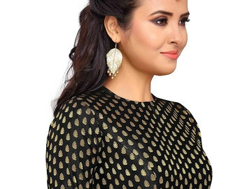 0a938186a186f Black Brocade Readymade Indian Jewel Neck Women s Poly Silk Weaving Saree  Blouse with Boat Neck Sari Choli Shirt Elbow length sleeves