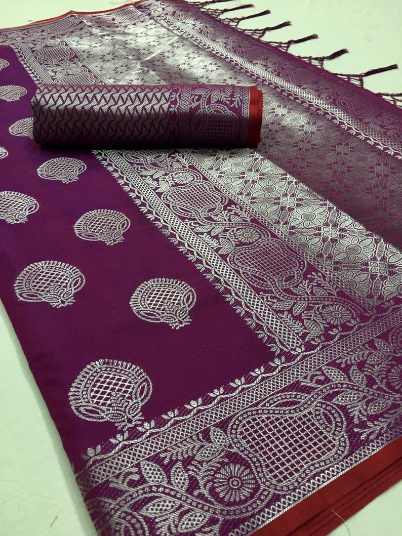 Black Valentine/'s Special ART SILK Saree Indian Floral Pattern Woven Sari Clothing Wedding Wear Lovely pallu With Unstitched Running Blouse