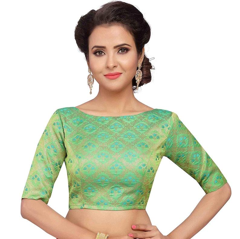 Brocade Green Engagement Wear Jhumka Pattern Readymade Women/'s Poly Silk Saree Blouse with Boat Neck Sari Choli Shirt Elbow length sleeves