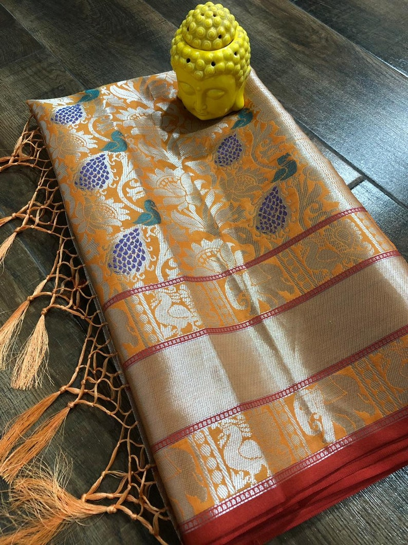 Orange Durga Puja Special Cotton SILK Saree Women Floral Weaving Sari Clothing Marriage Wear Lovely pallu With Unstitched Running Blouse