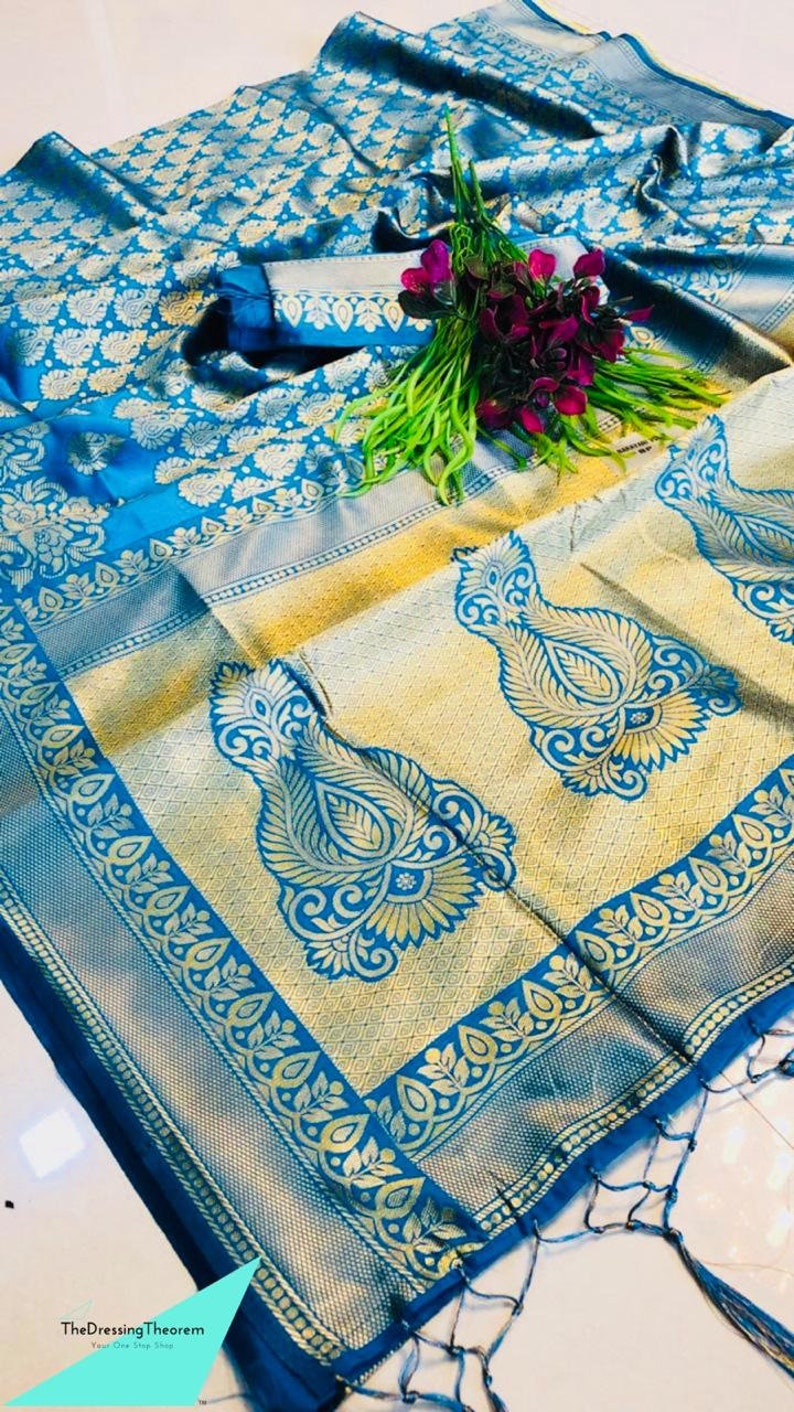 Blue Valentine/'s Special ART SILK Saree Indian Floral Pattern Woven Sari Clothing Wedding Wear Lovely pallu With Unstitched Running Blouse