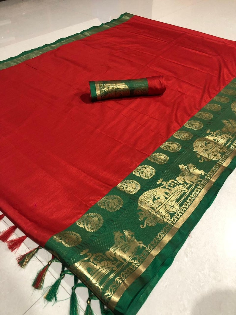 Red Valentine/'s Special Cotton SILK Saree Indian Floral Pattern Woven Sari Clothing Wedding Lovely pallu With Unstitched Running Blouse