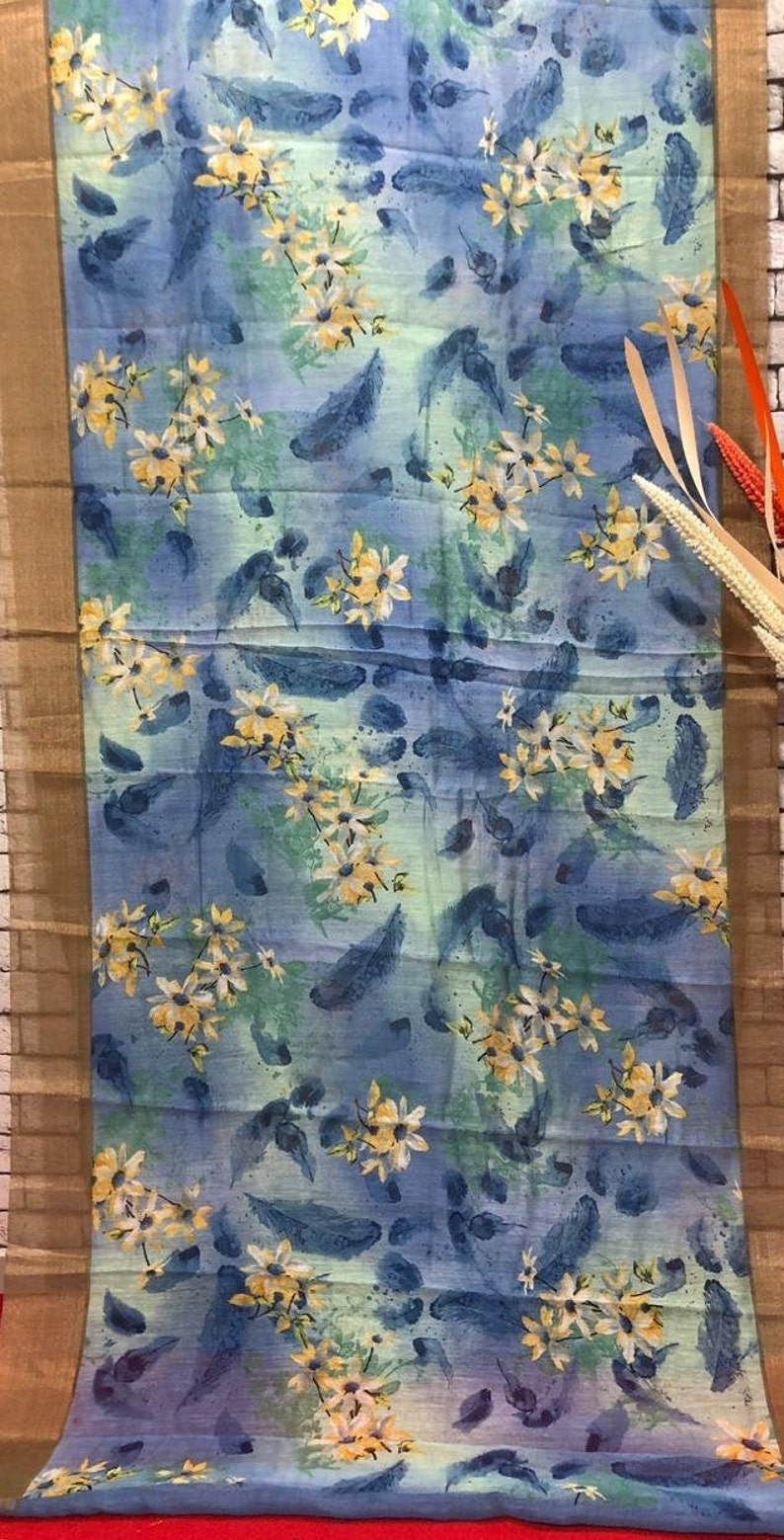 Occasional Wear Linen SILK Saree Indian Digital Floral Printed Sari Clothing Party Wear Lovely pallu With Unstitched Running Blouse