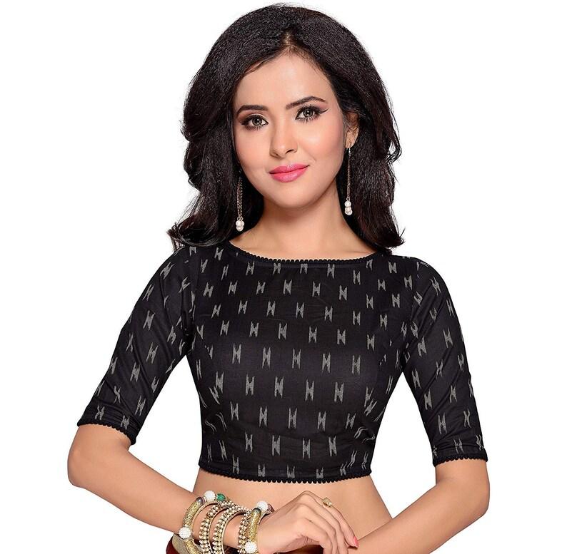SUMMER COLLECTION Readymade Boat Neck Black Women Ikat Print Cotton Saree Blouse Sari Choli Shirt Tunic Wedding Top Fabric Saree Blouse