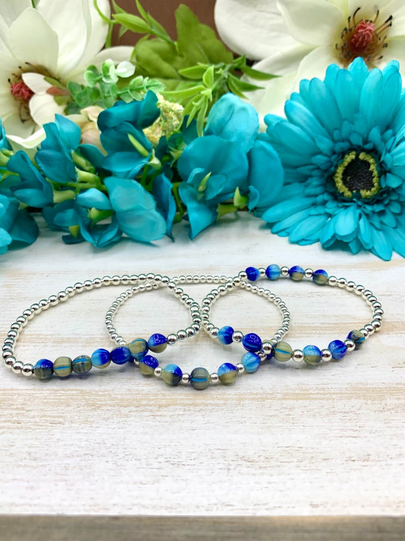 Trio Set Faceted BlueGreen Agate and Titanium plated Hematite Natural Stone Beaded Bracelets