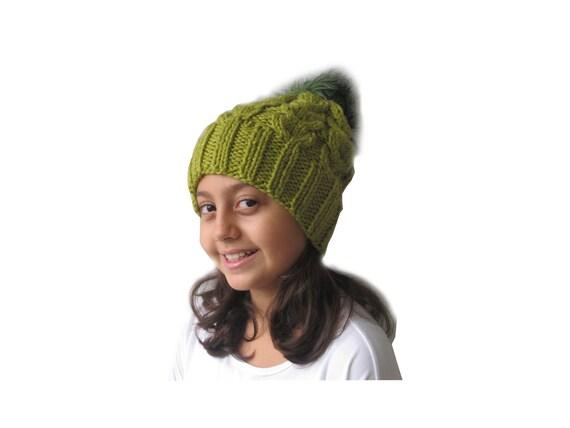 69ca3df0a Green Girl's Faux Fur Pom Hat, Winter Hat, Baby Girl Hat, Pom Beanie,  Toddler Girl Hat, Faux Fur Pom, Wool Hat with Pom Pom