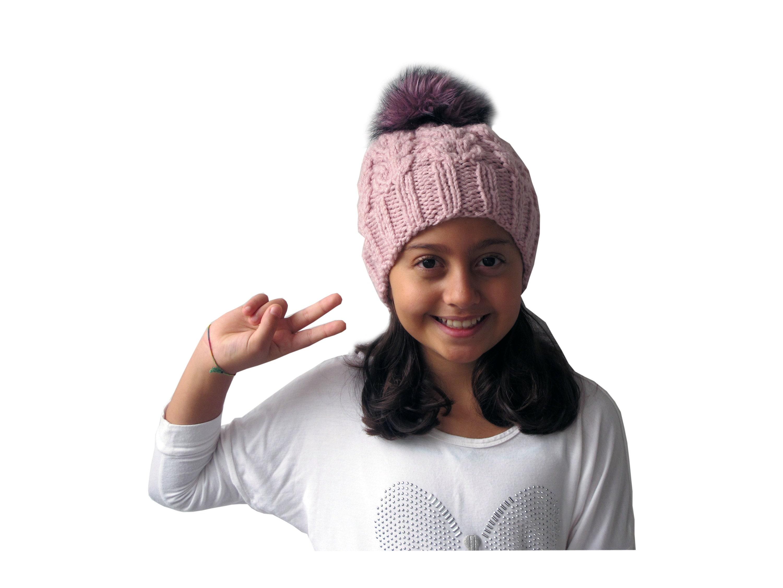 b05a4ab68 Light Pink Girl's Faux Fur Pom Hat, Winter Hat, Baby Girl Hat, Pom Beanie,  Toddler Girl Hat, Faux Fur Pom, Wool Hat with Pom Pom