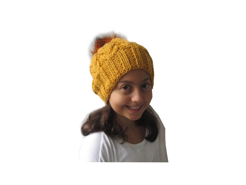 bf49e4a79db Yellow Girls Faux Fur Pom Hat Winter Hat Baby Girl Hat Pom
