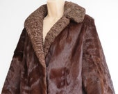 Vintage ponyskin coat with astrakhan collar 50s 60s chestnut brown immaculate S M