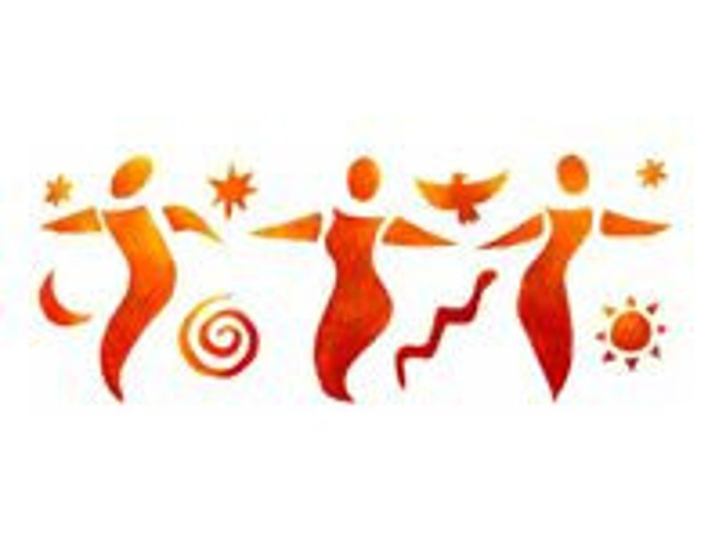 Three Circle Dancers Border stencil