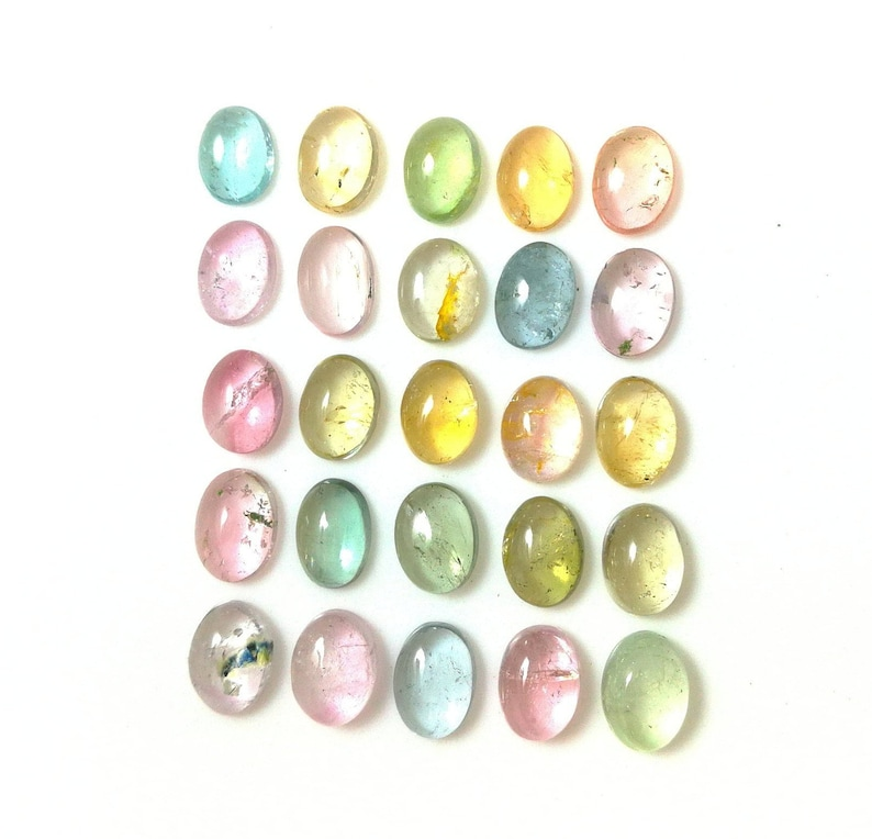 Natural Multi Tourmaline Cabochon Oval 5X7mm Aprox Smooth Polished AAA+Quality Loose Gemstone 20.40 Carats. 25 Pieces
