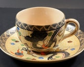 Satsuma Style Japanese Teacup with Dragon