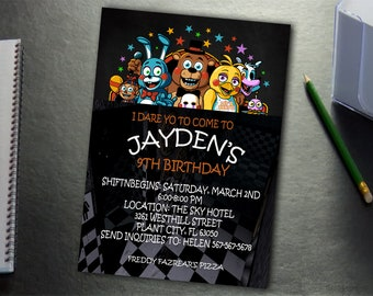 Five Nights At Freddys Invitation 24 Hours Turnaround Time Birthday Personalize