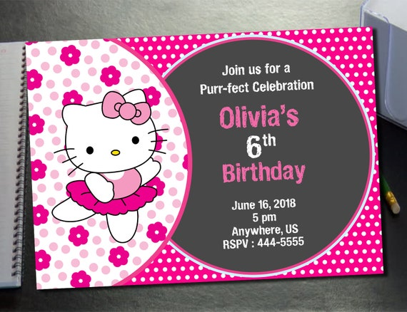 Hello Kitty Invitation 24 Hours Turnaround Time Hello Etsy