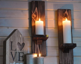 Rustic Candleholders Floating Shelves Large Wooden Handmade Sconces. Wallmounted Rustic Pillar Candle Sconce Hanging Shelf Wall-Mount Wooden Candle Holders Wood Wall Candle Holders