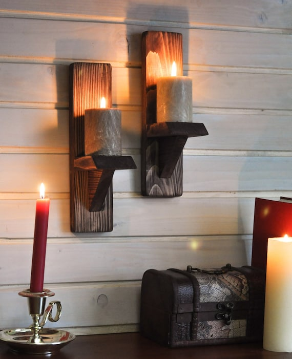 Rustic Candle Holders Candle Wall Sconce Oiled Finish Wall Decor Gift Sconce Rustic Farmhouse Style Wooden Candle Holder Set
