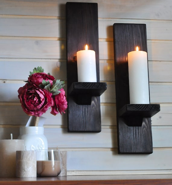 Rustic Candle Holder Wall Hanging Sconce Wall Mounted Candle Farmhouse Wall Decor Wood Shelf Game Of Thrones Inspired Gift Candle
