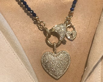 Lapis beaded heart necklace