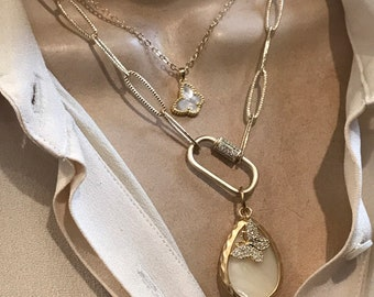 Mother of pearl tear drop pendant/butterfly charm necklaces