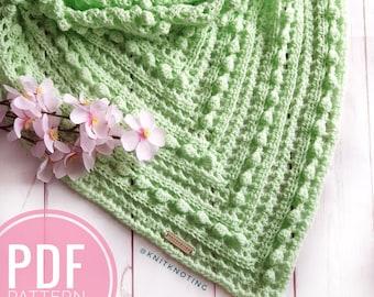 CROCHET PATTERN - Avalanche Scarf, US Term, Crochet Pattern, Triangle Scarf, Beginner Friendly, Easy Crochet Scarf, One Skein Pattern