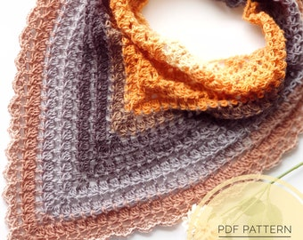 CROCHET PATTERN - Hopscotch Triangle Scarf, US Term, Crochet Pattern, Triangle Scarf, Beginner Friendly, Crochet Scarf, One Skein Pattern
