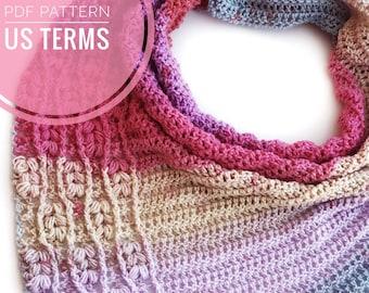 CROCHET PATTERN - Falling Ivy Scarf, US Terms, Triangle Scarf, Asymmetrical Scarf, Advanced Beginner, Crochet Scarf, Easy Crochet Pattern
